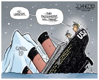 Political Cartoon U.S. Trump COVID panic Titanic