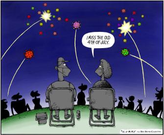 Editorial Cartoon U.S. fireworks 2020
