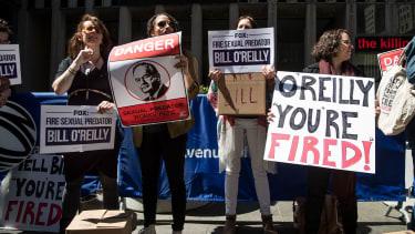 Demonstrators outside of the Fox News headquarters