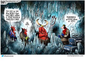 Editorial Cartoon U.S. COVID vaccines hell freeze over