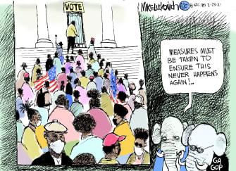 Political Cartoon U.S. GOP Georgia Black voters