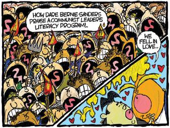 Political Cartoon U.S. Trump Bernie Sanders Kim Jong-un Cuba dictatorships outrage