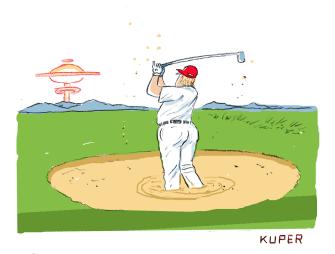 Political Cartoon U.S. Trump Golf Iran Sandtrap