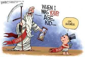 Editorial Cartoon World 2020 ok boomer