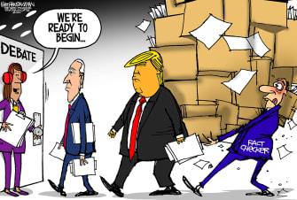 Political Cartoon U.S. Trump Biden debate fact check