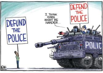 Editorial Cartoon U.S. defend defund police