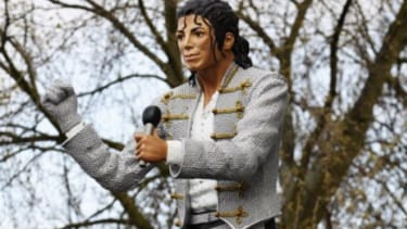 A Michael Jackson statue greets soccer fans at its new home: Craven Cottage stadium, London. Naturally.