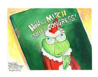 Political Cartoon U.S. McConnell Grinch Congress COVID relief
