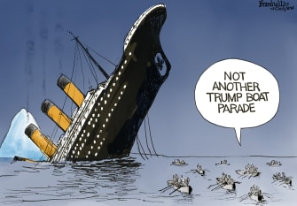 Political Cartoon U.S. Trump Titanic boat parade