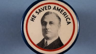 Franklin Delano Roosevelt's campaign button from the 1936 United States presidential election seems like it's from the much more distant past.