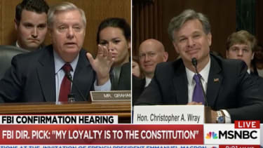 Lindsey Graham and Christopher Wray.