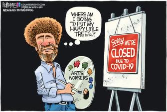 Editorial Cartoon U.S. bob ross covid arts