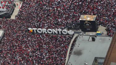 The Raptors rally in Toronto on Monday.
