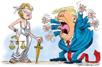 Political Cartoon U.S. Trump justice 2020