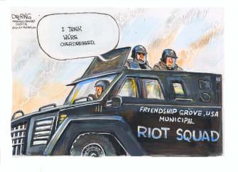 Editorial Cartoon U.S. riot police George Floyd protests