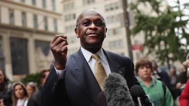 Herman Cain speaking outside Trump Towers