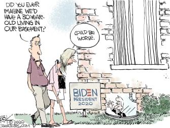 Political Cartoon U.S. Biden 2020 basement campaign