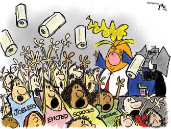 Political Cartoon U.S. Trump paper towels crises
