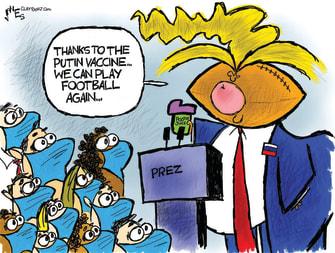 Political Cartoon U.S. Trump Putin Russia Coronavirus Vaccine College Football