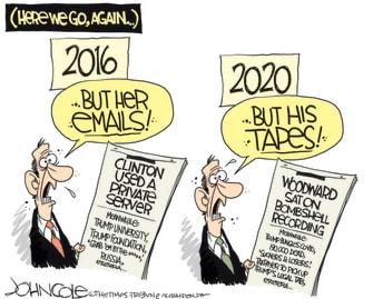 Political Cartoon U.S. Hillary Woodward tapes Trump 2020