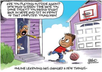Editorial Cartoon U.S. online learning childhood COVID