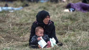 A refugee mother with her baby.