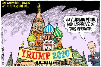 Political Cartoon U.S. Putin Trump 2020 election interference