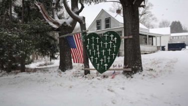 A memorial to the Sandy Hook massacre victims.
