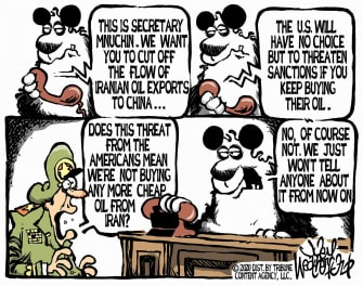 Political Cartoon U.S. Steven Mnuchin Iran China oil exports