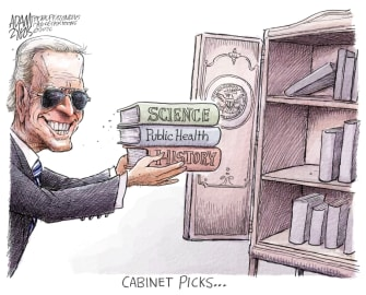 Political Cartoon U.S. Biden cabinet