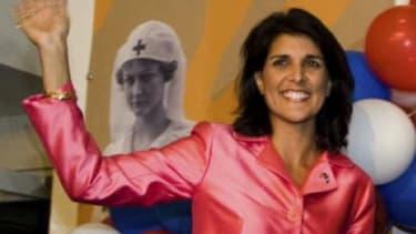Nikki Haley celebrates winning the GOP run-off election.