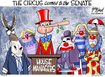 Political Cartoon U.S. Senate impeachment trial house managers clowns democrats