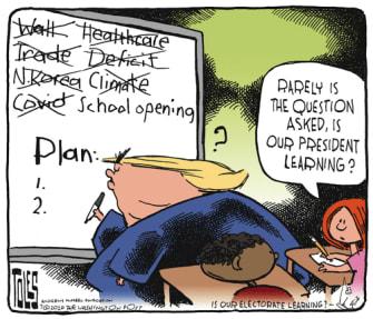 Political Cartoon U.S. Trump learning crises