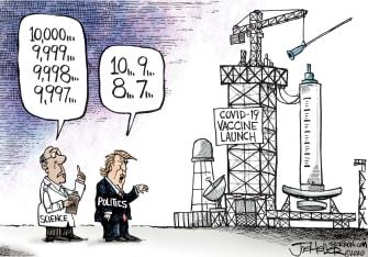 Political Cartoon U.S. Trump vaccine covid