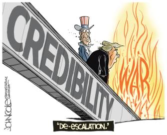 Political Cartoon U.S. Trump Iran deescalation Uncle Sam