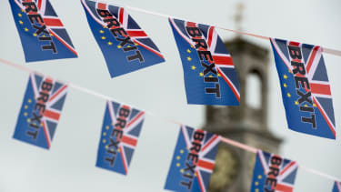 Pro-Brexit flags fly