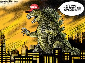 Political Cartoon U.S. Trump Capitol riot impeachment