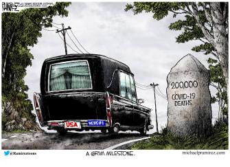 Editorial Cartoon U.S. 200000 COVID deaths