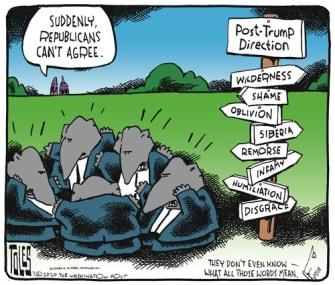 Political Cartoon U.S. republicans gop post Trump direction