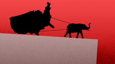 An elephant dragging America off a cliff.