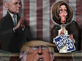 Political Cartoon U.S. Pelosi speech tear