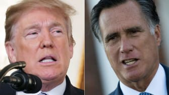Side-by-side photos of Donald Trump and Mitt Romney.