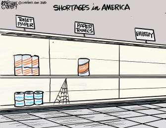 Editorial Cartoon U.S. America shortages empathy protests