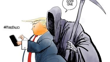 Political Cartoon U.S. Fire Fauci hashtag Twitter coronavirus Trump