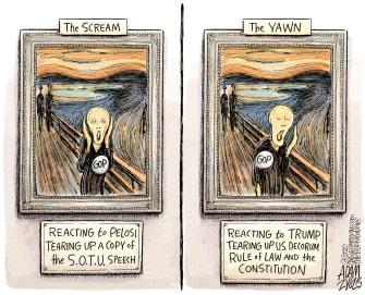 Political Cartoon U.S. Trump Pelosi The Scream yawn impeachment SOTU