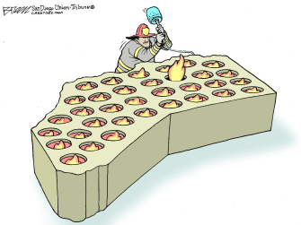 Editorial Cartoon U.S. California wildfires whack a mole