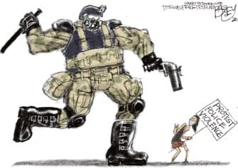 Editorial Cartoon U.S. police brutality Portland