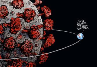 Editorial Cartoon U.S. covid anniversary
