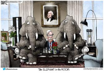 Political Cartoon U.S. Bolton Trump testimony elephant in the room