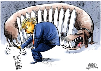 Political Cartoon U.S. Trump Wagging The Dog Iran Soleimani Killing